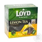 Чай чорний дрібний з ароматом лимону  у пакетиках для разового заварювання Loyd 20*1,7г