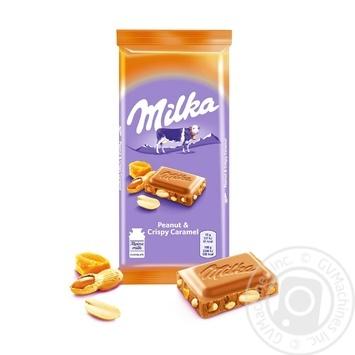 Шоколад молочный Milka карамель с арахисом 90г