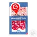 Колбаса Глобино Брауншвейгская сырокопченая 80г - купить, цены на Фуршет - фото 1