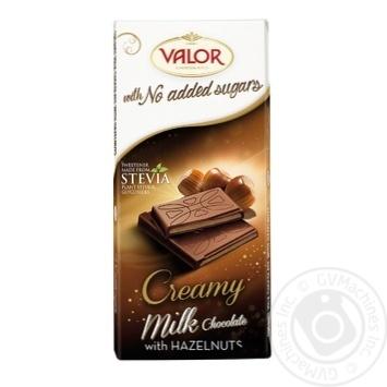Шоколад черный Valor с начинкой из ядер ореха фундука без сахара 100г
