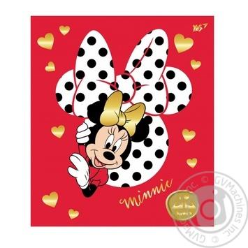 Зошит шкільний ТМ YES 12 аркушів коса лінія Minnie Mouse gold