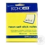 Блок Economix для заметок самоклеящиеся неоновые желтые 76x76см