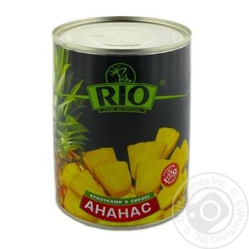 Ананасы Рио кусочками в сиропе 580мл Таиланд - купить, цены на Novus - фото 1