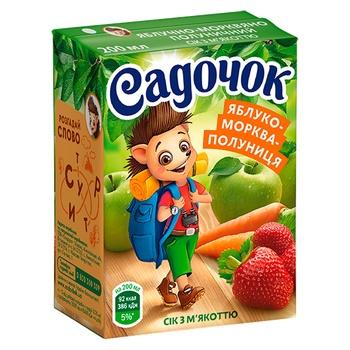 Sadochok apple-carrot-strawberry juice 0,2l - buy, prices for Novus - image 1