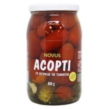 Ассорти огурцов и томатов Novus маринованные 850г - купить, цены на Novus - фото 1