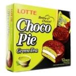 Печиво бісквітне Lotte Choco Pie Зелений чай прошароване глазуроване 12*28г 336г - купити, ціни на МегаМаркет - фото 1