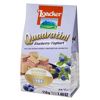 Вафли-кубики Loacker Quadratini Blueberry-Yoghurt с чернично-йогуртовой начинкой 110г