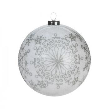 Шарик Koopman елочная белая декорирована 7.5см