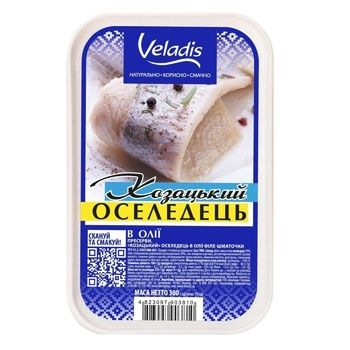 Cossack Herring fillet-pieces in oil Veladis 300g - buy, prices for Tavria V - image 1
