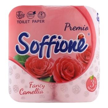 Туалетная бумага Soffione Fancy Camellia трехслойная 4шт - купить, цены на Фуршет - фото 1