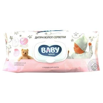 Novus Baby Wet Wipes Aloe and Chamomile with Vitamins A, C, E and D-panthenol 100pcs - buy, prices for Novus - photo 1