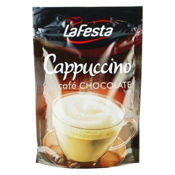 Напій Ла Феста Капучіно з шоколадним смаком розчинний 100г - купити, ціни на МегаМаркет - фото 1