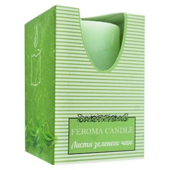 Свічка Feroma Candle рустік циліндрична зелена з ароматом зеленого чаю 55х8см