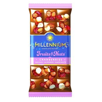Шоколад молочный Millennium Fruits & Nuts с миндалем, целыми лесными орехами, клюквой и изюмом 80г