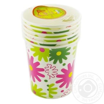 Стакан Унипак Цветы бумажный 250мл 6шт - купить, цены на Ашан - фото 1