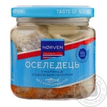 Norven Herring in Marinade with Vegetable Garnish 190g - buy, prices for Tavria V - image 1