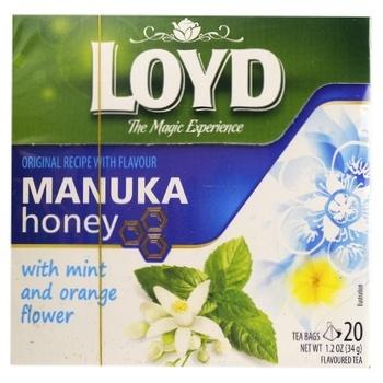Чай зелений Loyd Манука з м'ятою, квітами апельсину та ароматом меду 1,7г*20шт - купити, ціни на Novus - фото 1