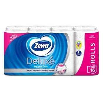 Туалетная бумага Zewa Deluxe белая 3-х слойная 16шт - купить, цены на МегаМаркет - фото 1