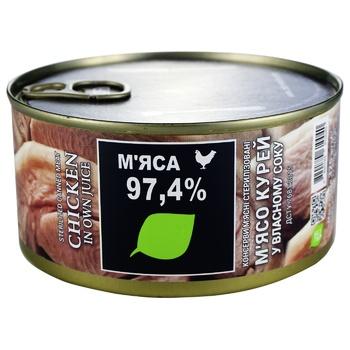 Мясо курей Zdorovo коонсервированное в собственном соку 325г - купить, цены на Восторг - фото 1