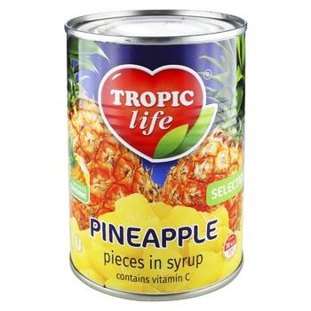 Ананас Tropic life кусочки в сиропе 580мл - купить, цены на Novus - фото 2