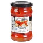 Перец Almito красный острый с начинкой из сливочного сыра 320мл