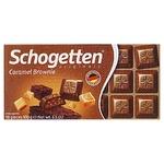 Шоколад молочний Schogetten з начинкою брауні з какао, шматочками печива та карамелі 100г