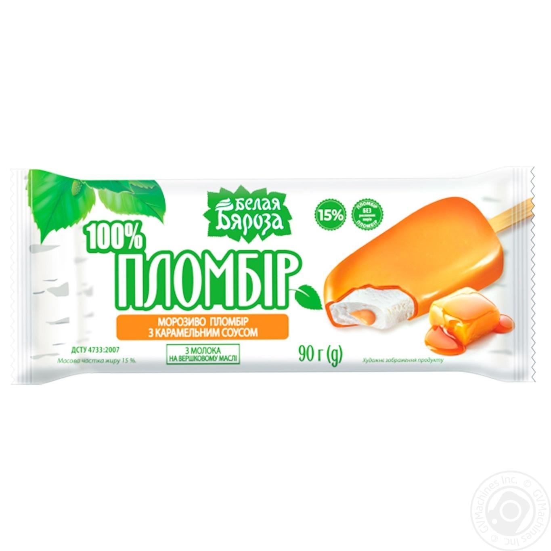 Мороженое Белая Бяроза пломбир с карамелью 90г
