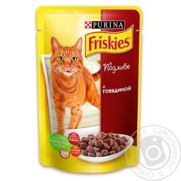 Корм Friskies С говядиной в подливке для взрослых котов 100г - купить, цены на Novus - фото 1