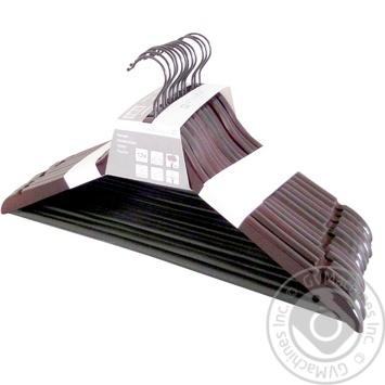 Вешалка Aro деревянная коричневая 6шт - купить, цены на Метро - фото 1