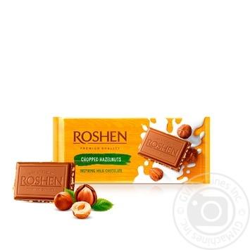 Шоколад экстрамолочный Рошен Классик с дроблеными лесными орехами 90г - купить, цены на Ашан - фото 1