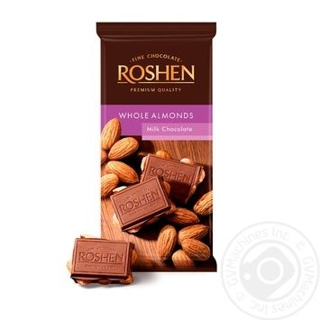 Roshen with whole almonds milk chocolate 90g - buy, prices for MegaMarket - image 1