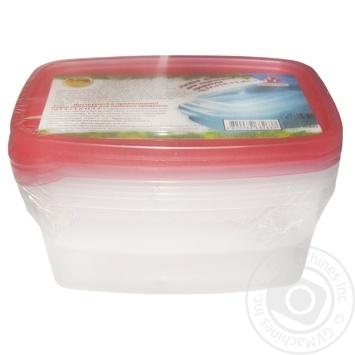 Контейнер пищевой Пластторг прямоугольный 0,7л+1л+1,5л набор - купить, цены на МегаМаркет - фото 1