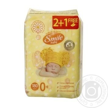 Салфетки влажные Smile Baby Экстракт ромашки и алоэ мультипак 180шт - купить, цены на Novus - фото 2