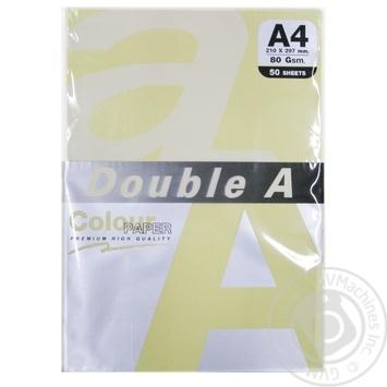 Бумага Double A цветная желтая А4 50 листов