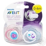 Philips Avent Soother silicone orthodontic 0-6m 2pcs assortment