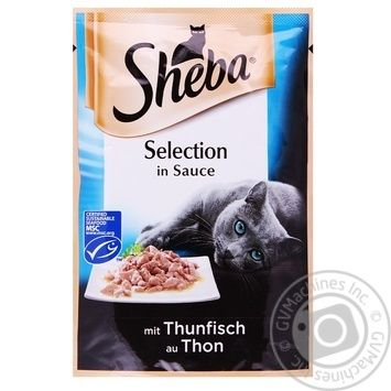 Корм Sheba Selection для котов с тунцом в соусе 85г - купить, цены на Ашан - фото 1