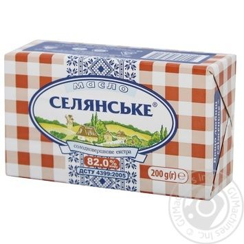Масло Селянське солодковершкове 82% 200г - купити, ціни на Novus - фото 1