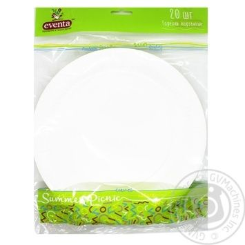 Тарелка бумажная Evеnta белая D23см 20шт/уп - купить, цены на Novus - фото 2