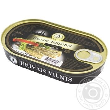 Шпроты Бривайс Вильнис большие в масле 190г - купить, цены на Метро - фото 1