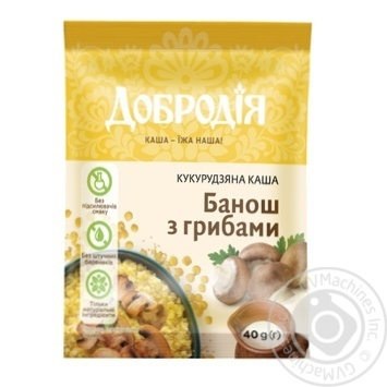Каша Добродія Банош с грибами кукурузная 40г - купить, цены на Ашан - фото 1