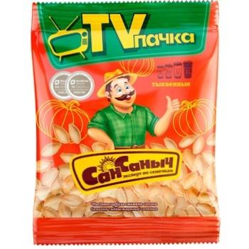 Семечки Сан Саныч тыквенные обжаренные соленые 140г - купить, цены на Восторг - фото 1