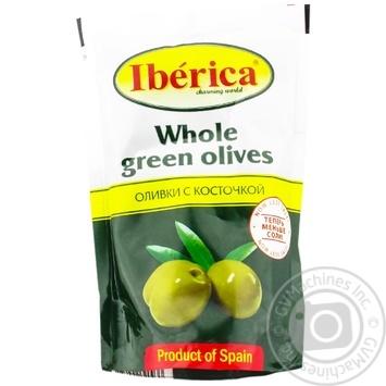 Оливки Иберика зеленые с косточкой 170г - купить, цены на Novus - фото 1