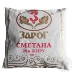 Sour cream Zarog chilled 20% 400g sachet Ukraine