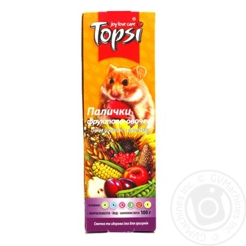 Палички Topsi Фруктово-овочеві для гризунів 100г - купити, ціни на Ашан - фото 1