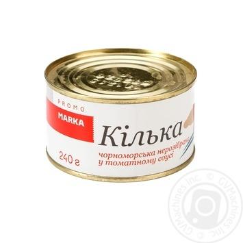 Кілька чорноморська нерозібрана у томатному соусі Marka Promo 240г