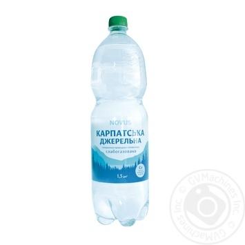 Вода мінеральна слабогазована Карпатська джерельна Novus 1,5л - купить, цены на Novus - фото 1