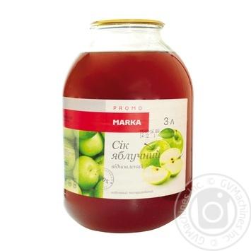 Сік яблучний відновлений освітлений пастеризований Marka Promo 3л