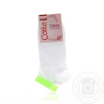 Носки Conte Elegant Classic женские хлопковые бело-салатовые 23р