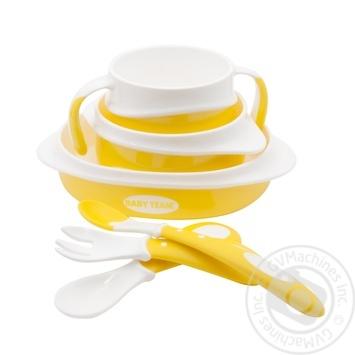 Набір для годування Baby Team (тарілка, миска, чашка, 2 ложки, виделка, нагрудник) - купити, ціни на Novus - фото 2