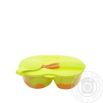 Тарілка Baby Team двосекційна з кришкою та ложкою - купити, ціни на Novus - фото 2
